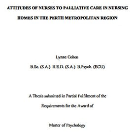 Attitudes of nurses to palliative care in nursing homes in the Perth metropolitan region