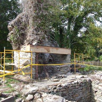 Waite Potter House 280: Chimney and Firebox Restoration, New Lintel Installed