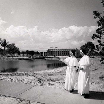 Mother Jogues Egan and Mother de la Croix O'Connell view campus