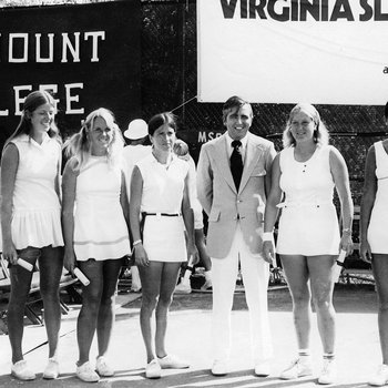 Dr Donald Ross and the Marymount Tennis Team at the Virgina Slims Tournament