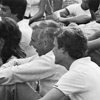1972 Don Ross Watches Game with Students