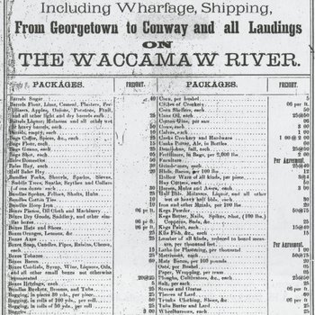 Waccamaw Line of Steamers - Rates of Freight