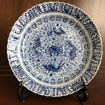 Blue and White Dish with Fish Pattern