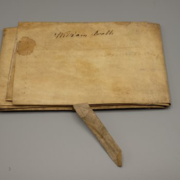 """Official document written on parchment, signed """"William Booth"""""""