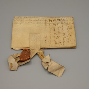Official document written on parchment with attached wax sealing 2