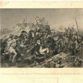 Battle of Saratoga., General Arnold Wounded in the Attack on the Hessian Redoubt