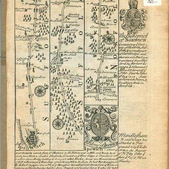 Map through Suffolk to Ipswich