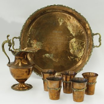 Copper and silver pitcher, tray and glasses