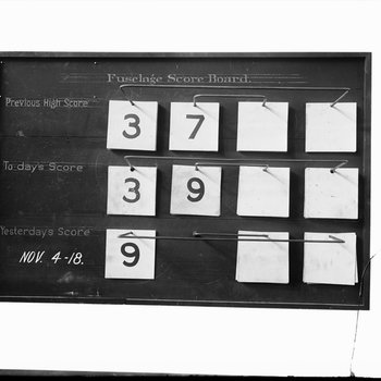 Fuselage Score Board, Dayton-Wright Airplane Company November 4, 1918