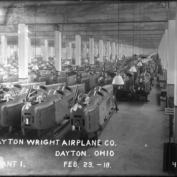 Fuselages of the Standard J-1 training aircraft at the Dayton-Wright Airplane Company Plant 1 February 23, 1918